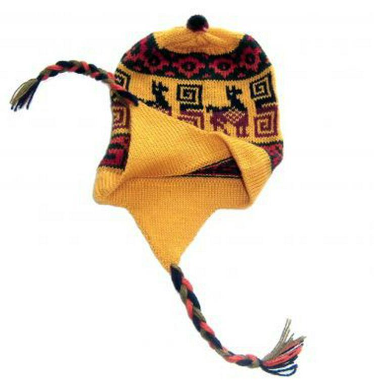 Gelbe Kinder Chullo Mütze aus Peru, Alpakawoll
