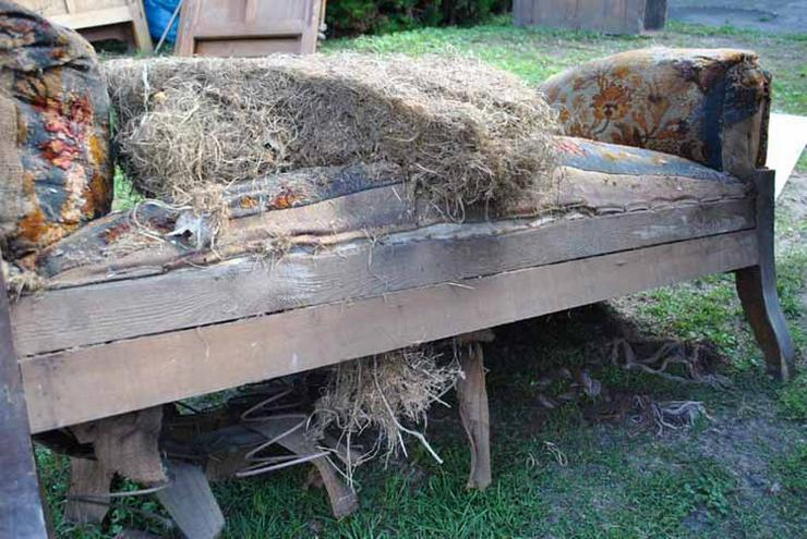 Bild 5: Gründerzeit Sofa / Couch mit Holzgestell aus Nu