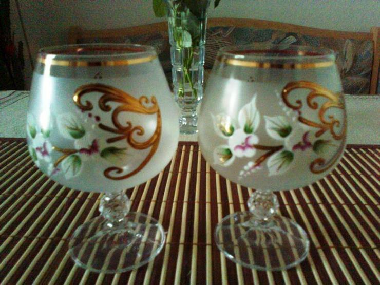 Gläser 2 schön verzierte Cocnac-Schwenker mit Goldrand