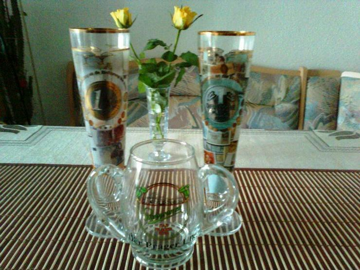 Gläser 3 schöne Biergläser mit Euro und DM Motiv
