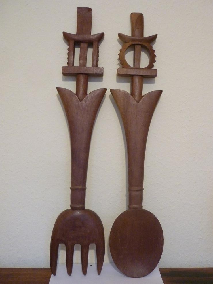 HOLZBESTECK (Löffel und Gabel) aus Ghana, 75 cm