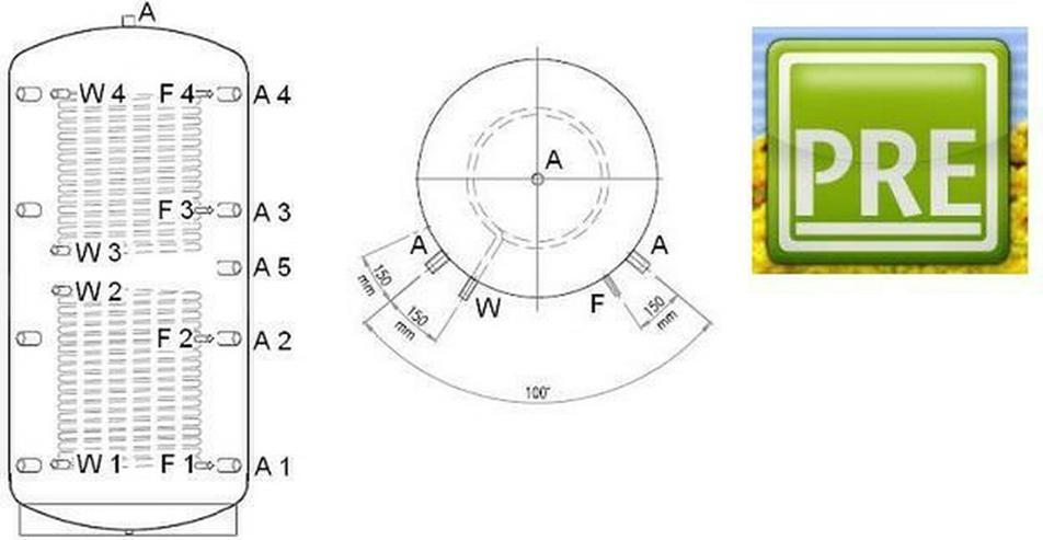 PRE Pufferspeicher 4000 L + 2 WT + Hartschaum  - Solarheizung - Bild 1