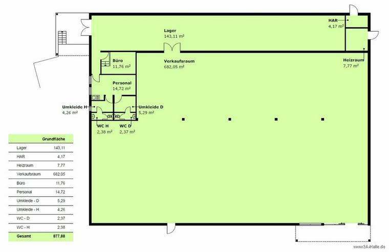 Bild 3: ca. 680 m² Verkaufsfläche im Gewerbegebiet Halle Ost