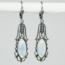Ohrringe altsilber Vintage Opalglas - Ohrschmuck - Bild 1
