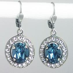 Ohrringe silber Swarovski Kristall Vintage blau - Ohrschmuck - Bild 1