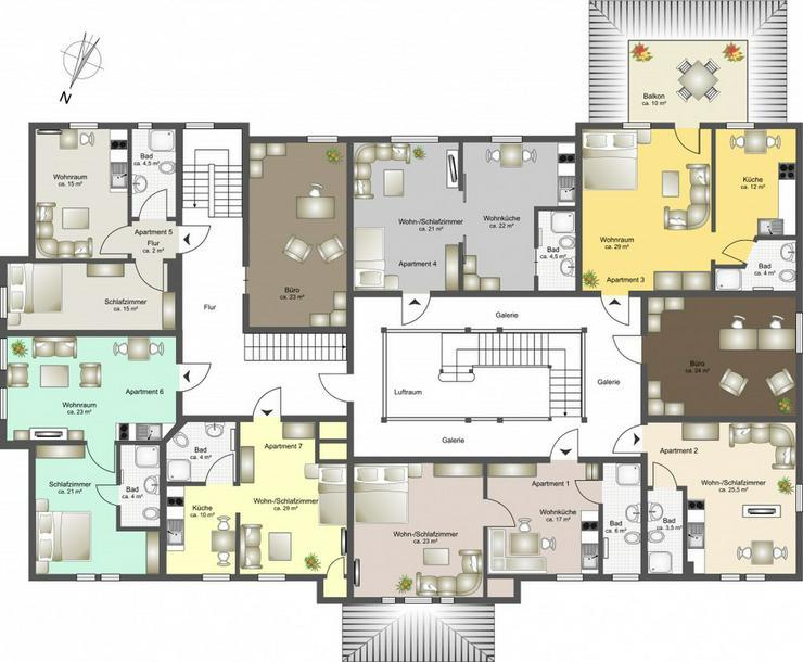 Bild 2: 7 hochwertig ausgestattete Apartments - Boardinghouse Rostock