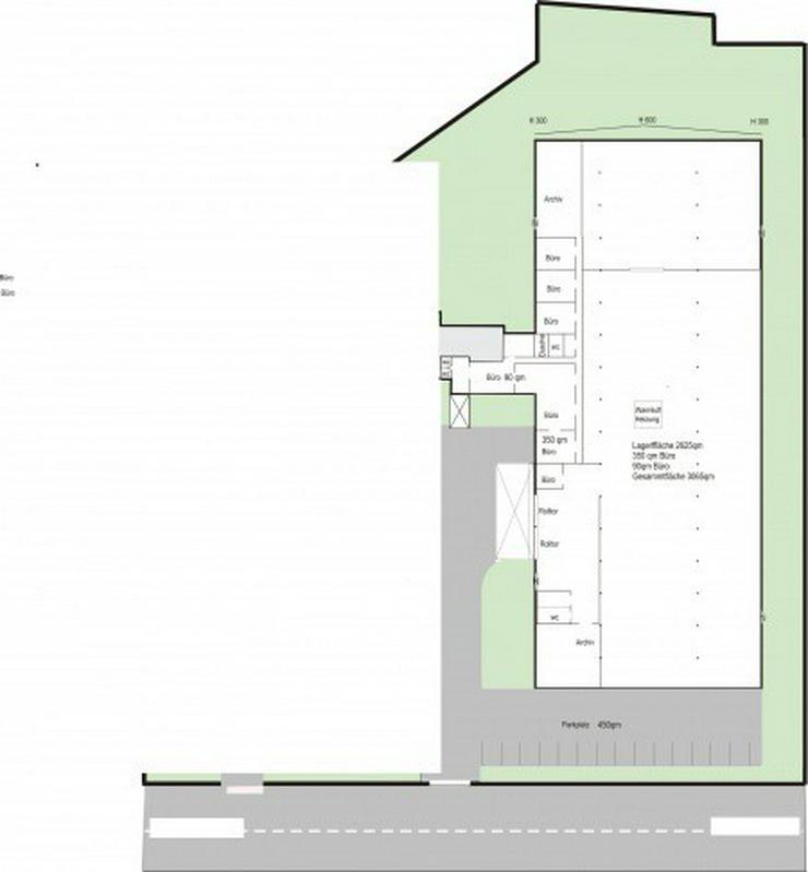 Bild 2: Hallenfläche mit Rampe und Büro