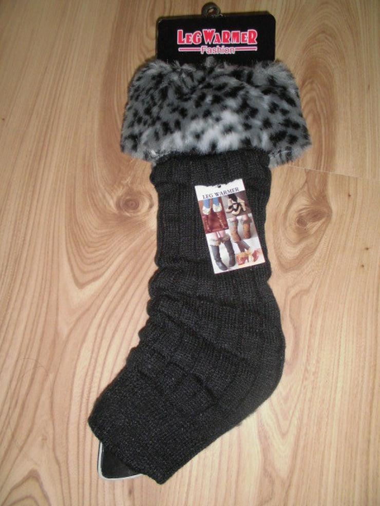 1 Paar neue schwarze Strick Beinstulpen/Legwarm