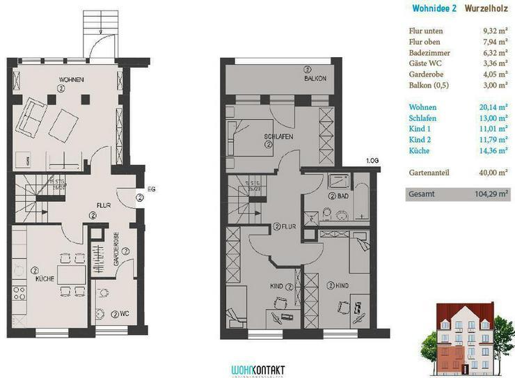 Bild 2: KfW-Effizienzhaus * Eigene Ideen verwirklichen * 40m2-Gartenanteil * Balkon * Parkett * G?...