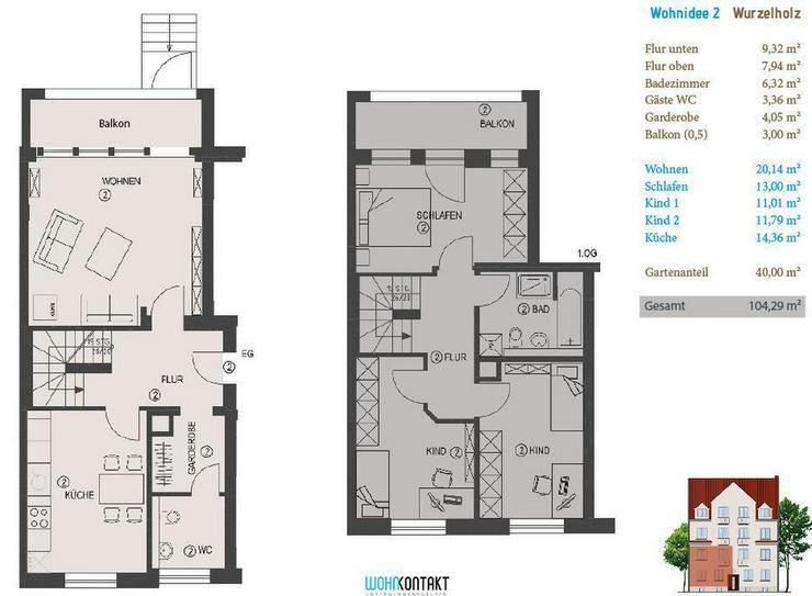 KfW-Effizienzhaus * Eigene Ideen verwirklichen * 40m2-Gartenanteil * Balkon * Parkett * G?... - Wohnung kaufen - Bild 1