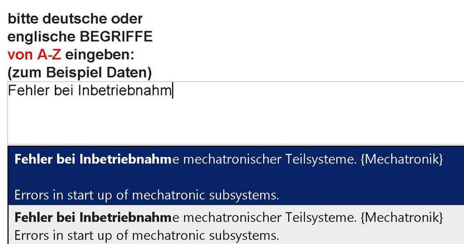 Bild 3: woerterbuch LEO fehlen spezielle Mechatronik