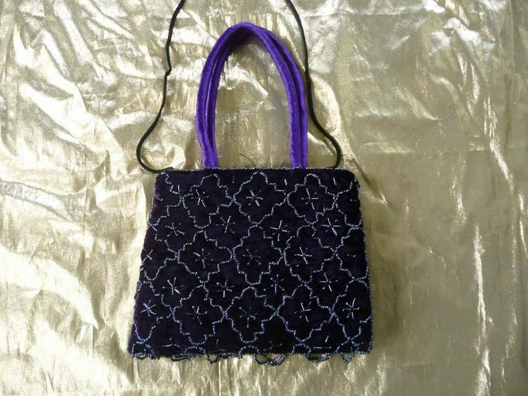 Bestickte Handtasche, indische Handarbeit,lila