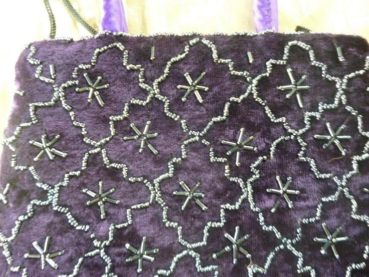 Bild 2: Bestickte Handtasche, indische Handarbeit,lila