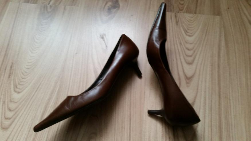 Bild 2: Braune spitze Damen Leder Pumps in Größe 37