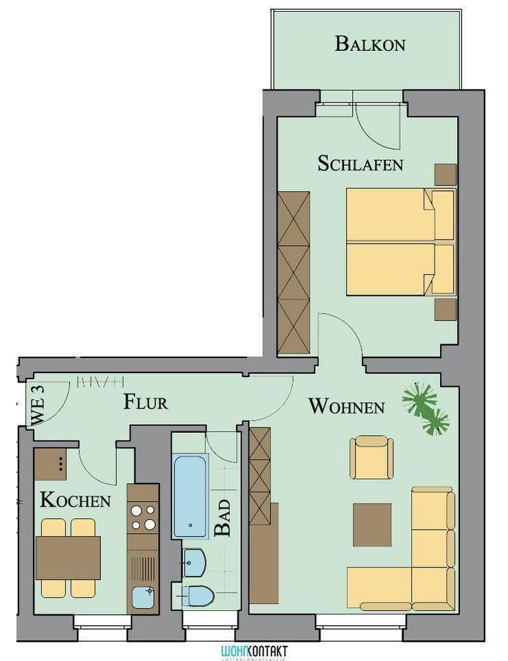Zwenkau: Wohnen wo Andere Urlaub machen * schicke 2RW mit Balkon * - Wohnung mieten - Bild 1