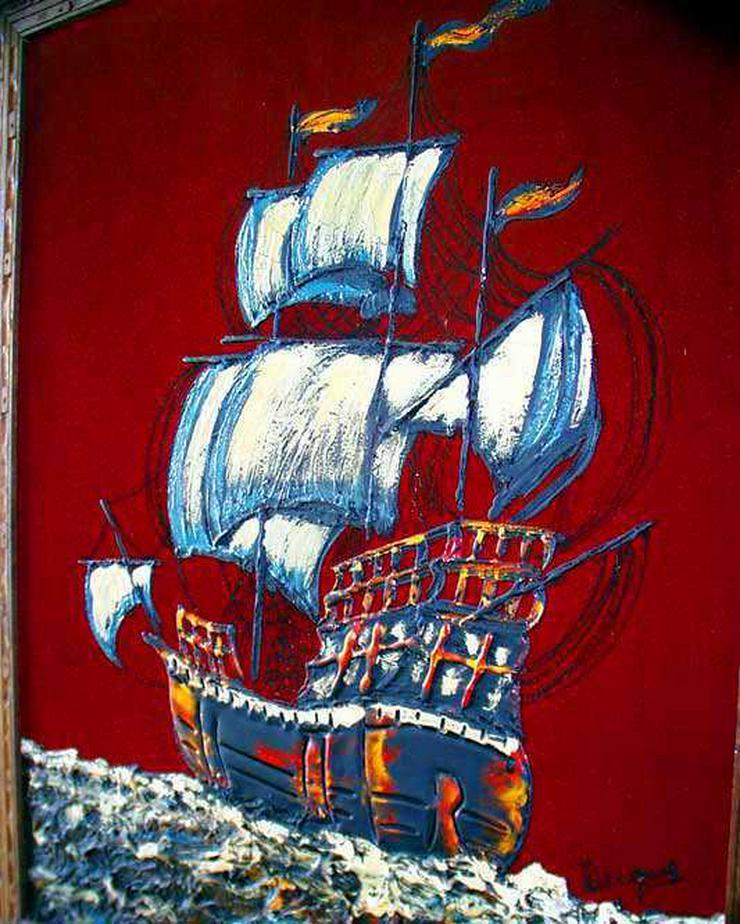 SEGELSCHIFF - altes Bild mit Segelschiff+Rahmen
