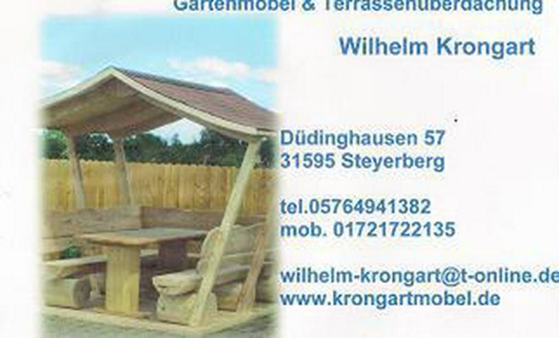 Bild 5: Gartenmöbel aus Holz. Sitzgruppe mit Dach.Holz.