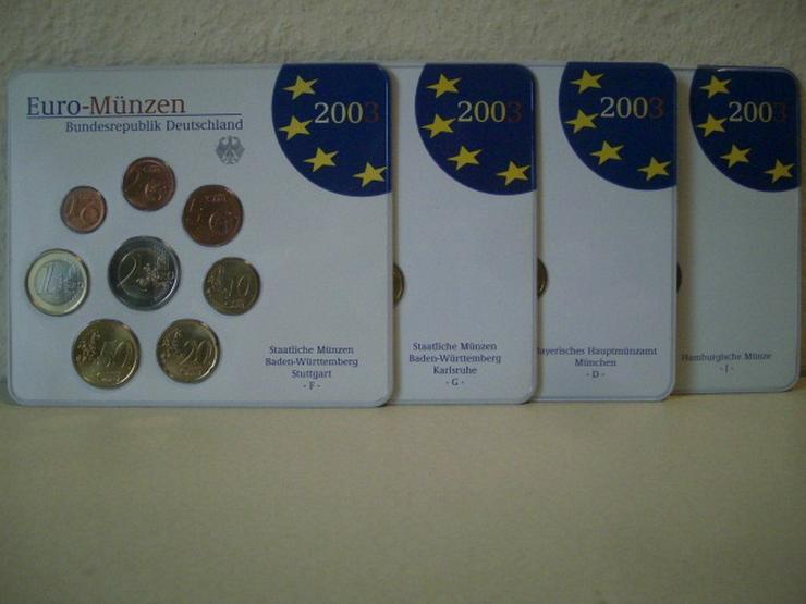 Bild 1: €-Kursmünzensätze 2003 Dtschl. D,F,G,J stgl.