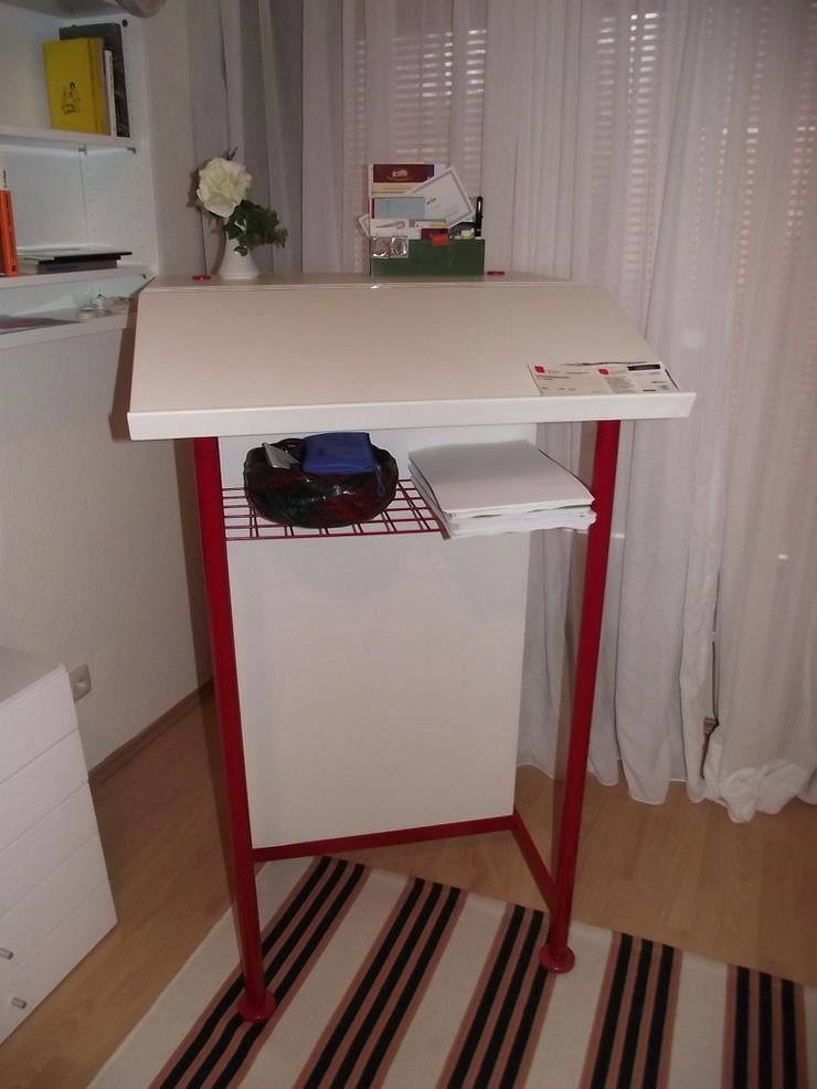 Bild 2: Stehpult Schreibpult  in weiß mit Ablagefach
