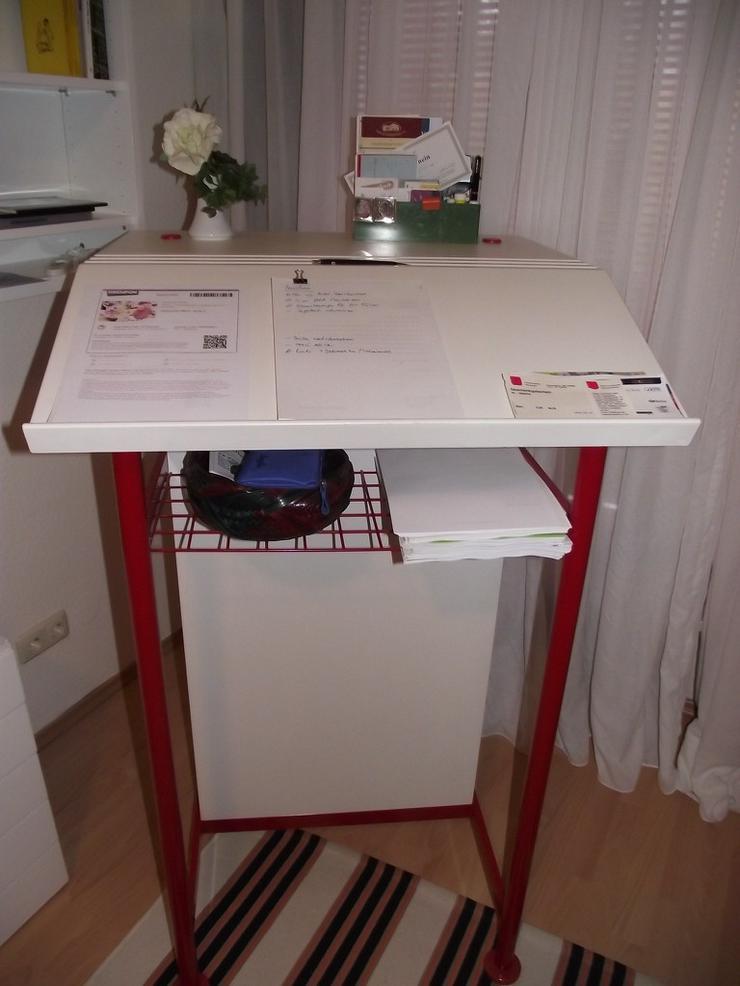 Bild 3: Stehpult Schreibpult  in weiß mit Ablagefach
