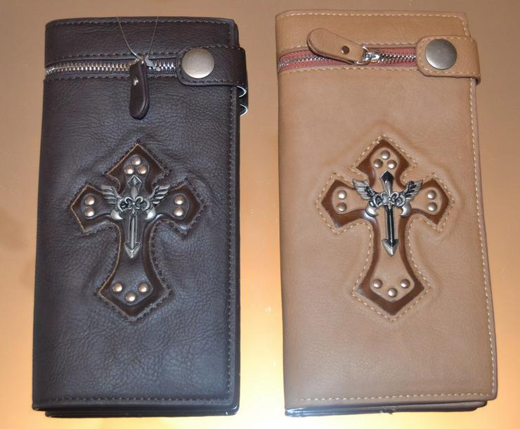 Bild 3: Brieftasche echt Leder Strausenleder