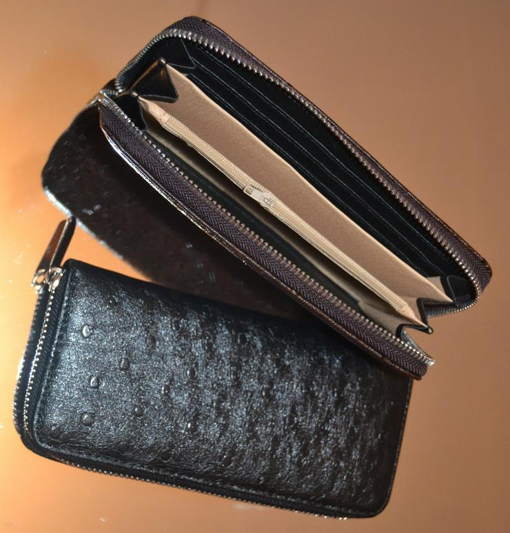 Bild 2: Brieftasche echt Leder Strausenleder