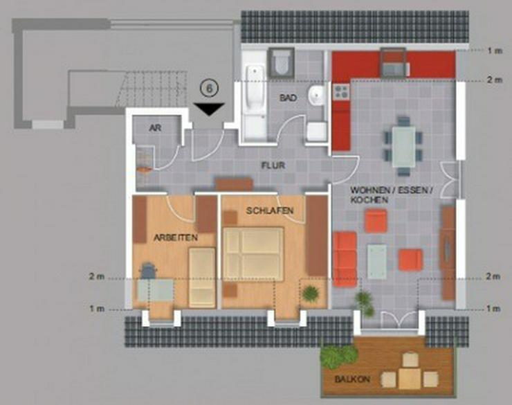 Bild 2: Moderne 3-Zimmer-Dachgeschoßwohnung mit großem Balkon