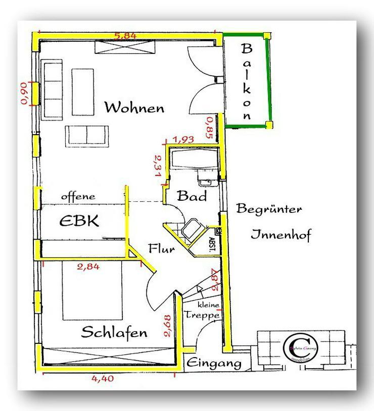 Bild 4: IHR neues Zuhause; ruhig mit mediteranem Touch..S-Balkon, off. EBK..Nähe Frankenallee! Ab...