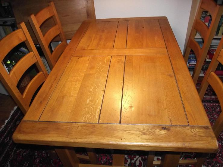 Esstisch m. Erweiterung und 6 Stühlen Holz