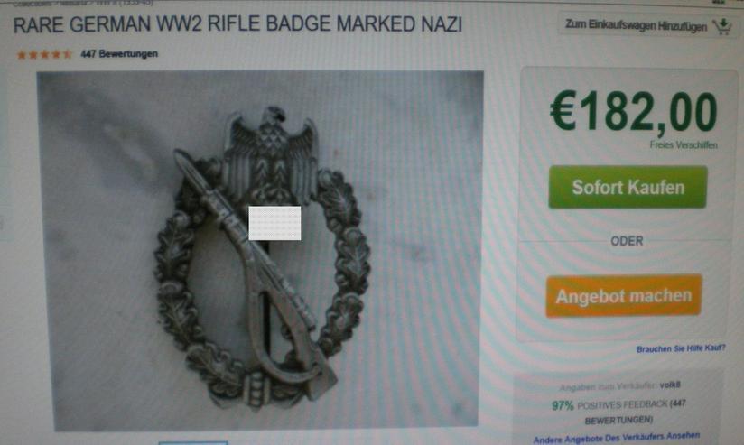 Bild 5: Infanterie Sturmabzeichen WK II (VB) noch 1 x Preis runter gesetzt !