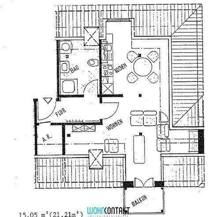 Bild 2: Individuell und hell: Große 1-Zi-DG-Studiowohnung in grüner Lage