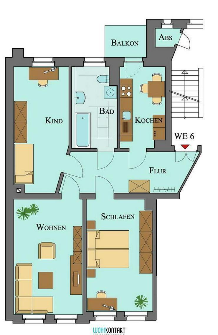 Schicke 3-Raumwohnung mit Balkon in Taucha * großer Mietergarten - Wohnung mieten - Bild 1
