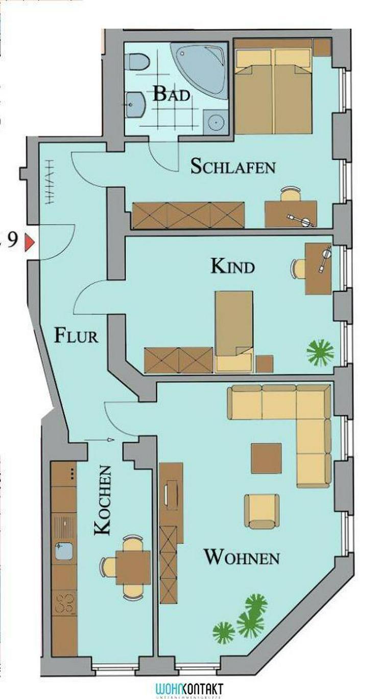 * Attraktiv Wohnen Im Herzen von Markkleeberg * 3-ZKB mit großem Wohnzimmer * Eckbadewann... - Wohnung mieten - Bild 1