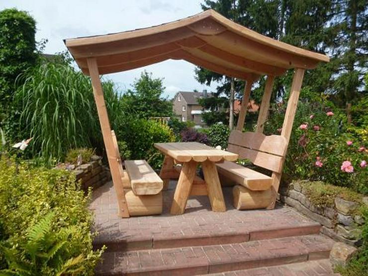 Bild 5: Sitzbank.Gartenbank mit Dach. Dach.Holz.