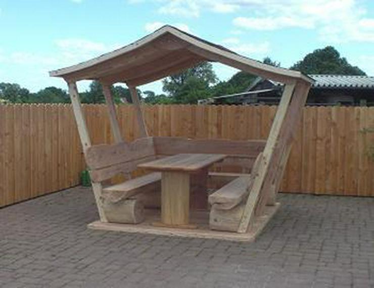 Bild 6: Sitzbank.Gartenbank mit Dach. Dach.Holz.
