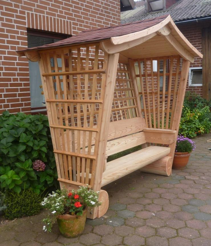 Bild 3: Sitzbank.Gartenbank mit Dach. Dach.Holz.