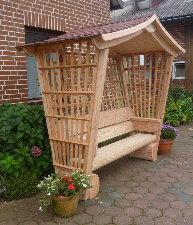 Gartenlaube.Rosenbogen.Sitzbank mit Dach.Holz. - Weitere - Bild 1