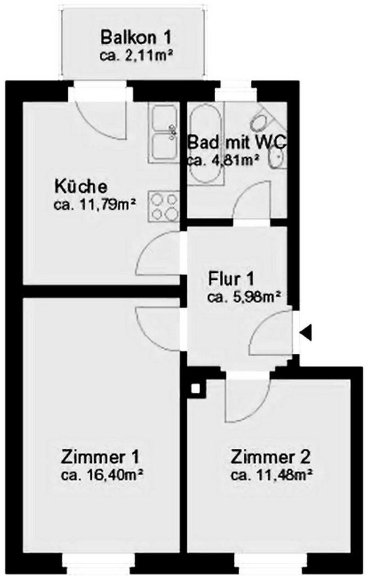 Bild 5: KAPITALANLAGE in Dresden-Tolkewitz in ruhiger Lage eine 2 Raumwohnung mit Balkon
