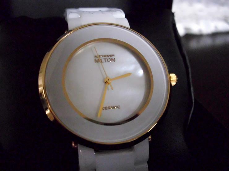 Keramik-Armbanduhr  weiß  ALEXANDER MILTON