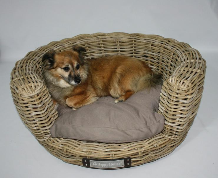 Luxus Hundesofa aus Rattan rund 80 cm von hap