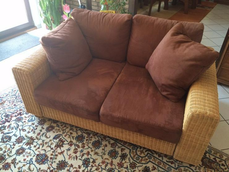 Sofa aus Rattan - Zweisitzer in schokobraun