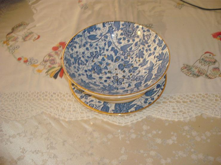 Antike blauweiße Schale mit Unterteller   ( K