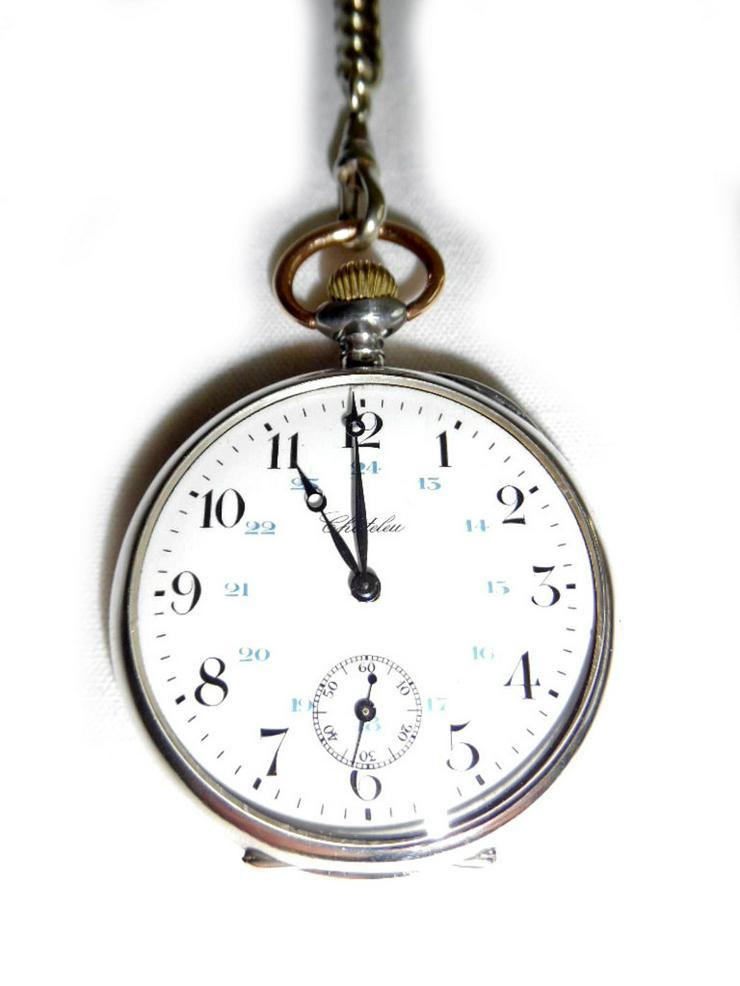 Bild 2: Silberne Taschenuhr von Chateleu mit Kette