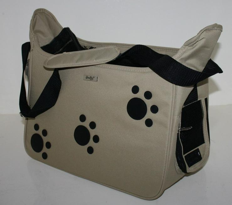 Hundetragetasche Pfote beige 42 x 21 x 25 cm - Transport - Bild 1
