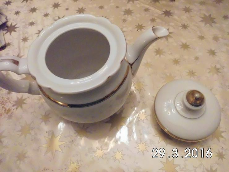 Bild 5: Teekanne Porzellan weiß /gold von Oma /