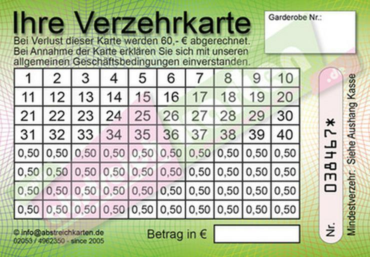 Bild 4: Abstreichkarten / Verzehrkarten für Veranstalter