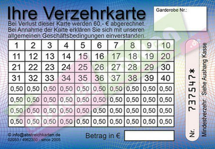 Bild 2: Abstreichkarten / Verzehrkarten für Veranstalter