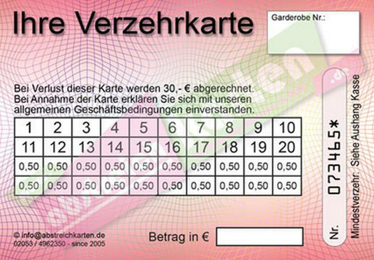 Bild 6: Abstreichkarten / Verzehrkarten für Veranstalter