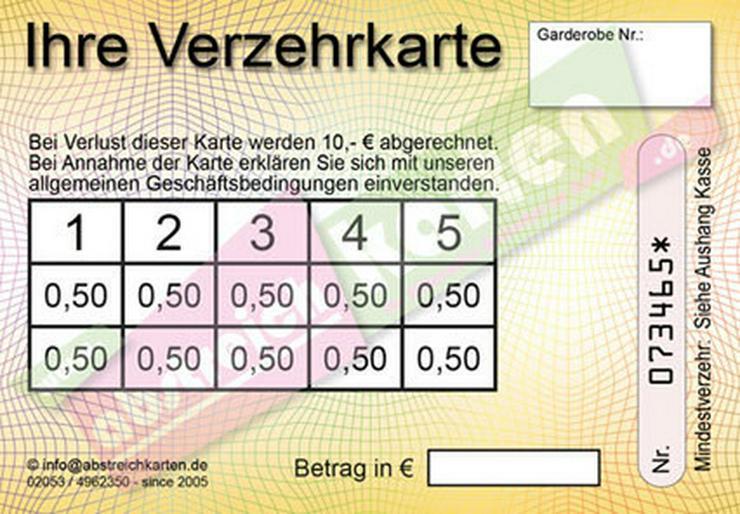 Bild 6: Abstreichkarten für Veranstalter