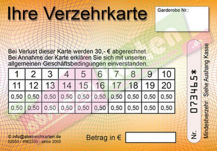 Bild 5: Abstreichkarten / Verzehrkarten für Veranstalter